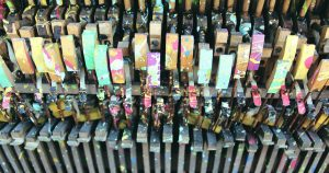 piano keys with paint splatter from Heidelberg Project in Detroit, Michigan