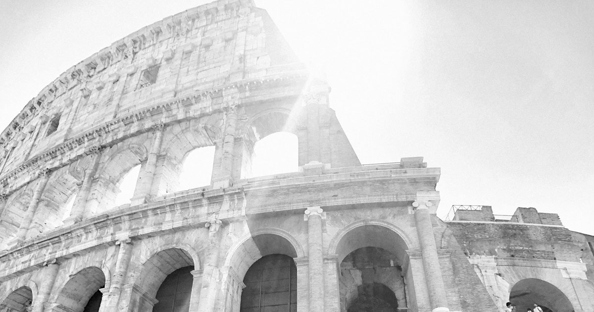 colosseum with a sun flair, Rome, Italy
