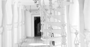 ornate white spiral staircase