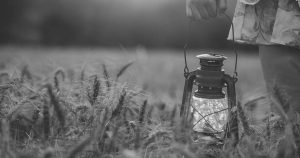person in a dress holding a lantern in a grain field