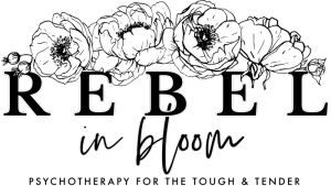 Rebel in Bloom logo with tagline