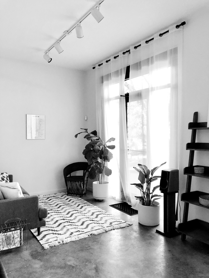 black and white image of Rebel in Bloom waiting area